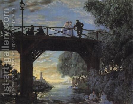 Bridge. Astrakhan by Boris Kustodiev - Reproduction Oil Painting