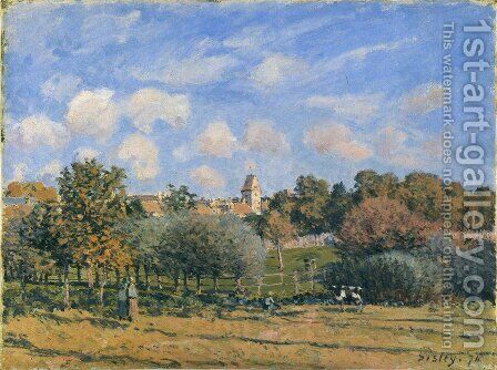 Church at Noisy Le Roi in Autumn by Alfred Sisley - Reproduction Oil Painting