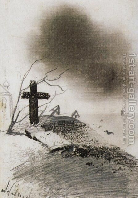 Grave by Alexei Kondratyevich Savrasov - Reproduction Oil Painting