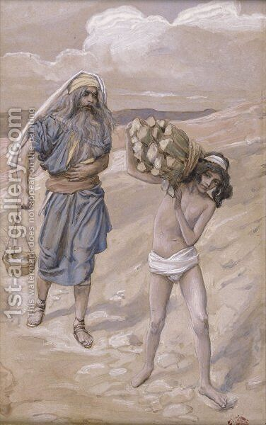 Isaac Bears the Wood for His Sacrifice by James Jacques Joseph Tissot - Reproduction Oil Painting