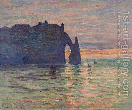 Etretat, Sunset by Claude Oscar Monet - Reproduction Oil Painting