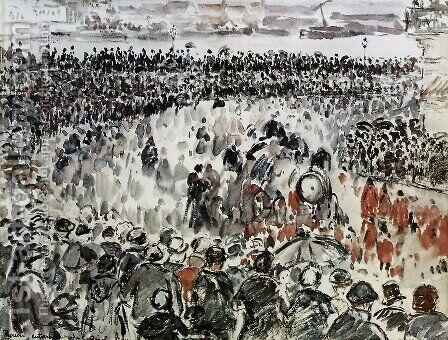 Rouen burial of Cardinal Bonnechose by Camille Pissarro - Reproduction Oil Painting