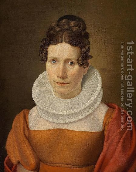 Portrait of Faktor Fjellerups Kone by Christoffer Wilhelm Eckersberg - Reproduction Oil Painting