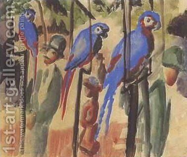 Blue Parrots by August Macke - Reproduction Oil Painting