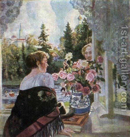 By Window by Boris Kustodiev - Reproduction Oil Painting