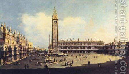San Marco Square from the Clock Tower Facing the Procuratie Nuove by Bernardo Bellotto (Canaletto) - Reproduction Oil Painting