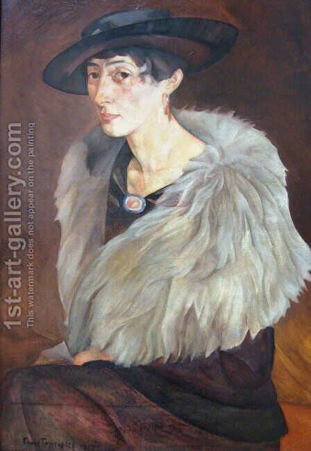 Portrait of Anna Grilikhes by Boris Dmitrievich Grigoriev - Reproduction Oil Painting