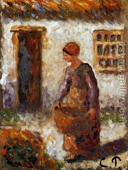 Peasant woman with basket by Camille Pissarro - Reproduction Oil Painting