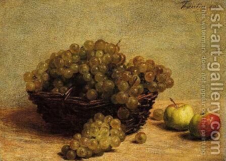 Still Life Apples and Grapes by Ignace Henri Jean Fantin-Latour - Reproduction Oil Painting