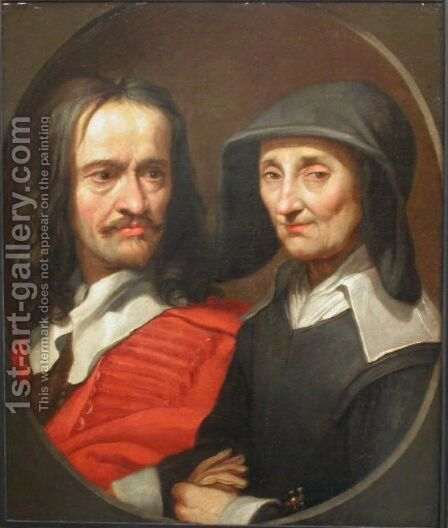 Portrait of Jacques Stella and her mother, Claudine de Masso by Jacques Stella - Reproduction Oil Painting
