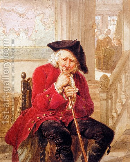 Sitting old man waiting in hall by Abraham van, I Strij - Reproduction Oil Painting