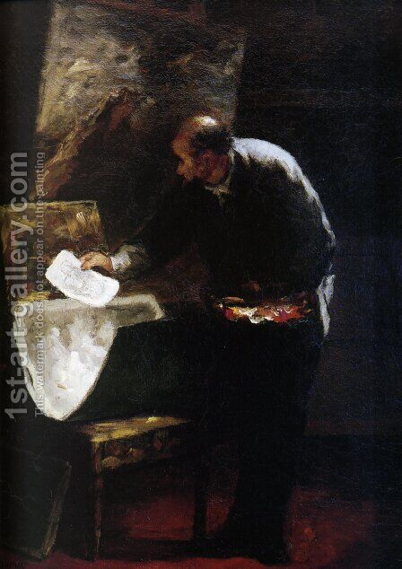 Painter dividing into sheets a paperboard of drawing by Honoré Daumier - Reproduction Oil Painting