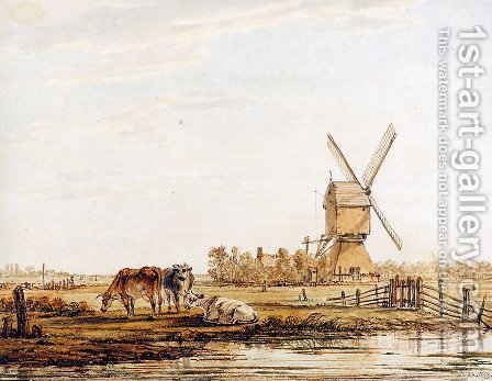 Landscape with mill and cattle by Jacob van Strij - Reproduction Oil Painting