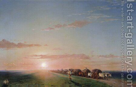 Ox train on the steppe by Ivan Konstantinovich Aivazovsky - Reproduction Oil Painting