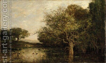The pond with a herons by Charles-Francois Daubigny - Reproduction Oil Painting
