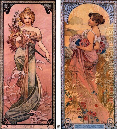The seasons (Spring, Summer) by Alphonse Maria Mucha - Reproduction Oil Painting
