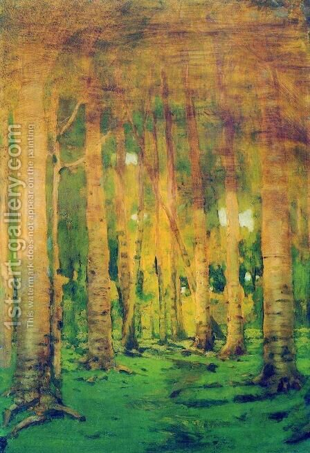 A Birch Grove. Spots of sunlight by Arkhip Ivanovich Kuindzhi - Reproduction Oil Painting