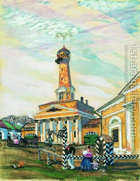 Square in Krutogorsk by Boris Kustodiev - Reproduction Oil Painting