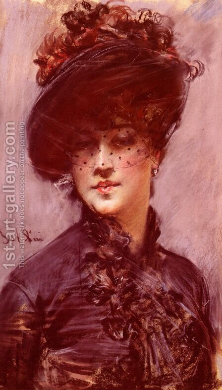 Lady with a Black Hat by Giovanni Boldini - Reproduction Oil Painting