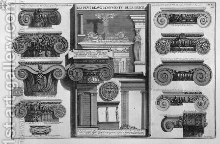 Ionic capitals of Rome (S. Maria in Trastevere, St. Paul, St. George in Velabro, St. Saba, etc.) by Giovanni Battista Piranesi - Reproduction Oil Painting