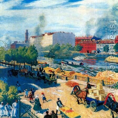Fontanka by Boris Kustodiev - Reproduction Oil Painting