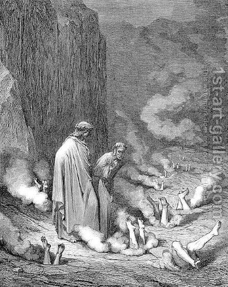 The Punishment of the Simonists by Gustave Dore - Reproduction Oil Painting