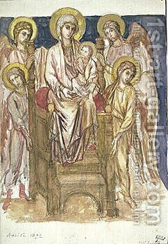 Madonna Enthroned with the Child with Angels by (Cenni Di Peppi) Cimabue - Reproduction Oil Painting