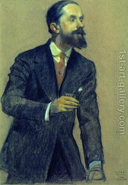 Portrait of Ivan Bilibin by Boris Kustodiev - Reproduction Oil Painting
