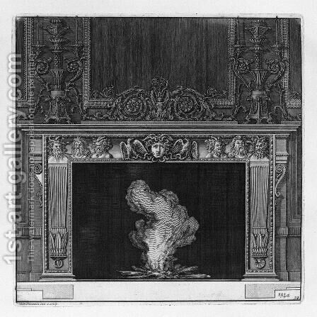 Fireplace busts in the frieze of satyrs and the head of Medusa in the center between two eagles by Giovanni Battista Piranesi - Reproduction Oil Painting