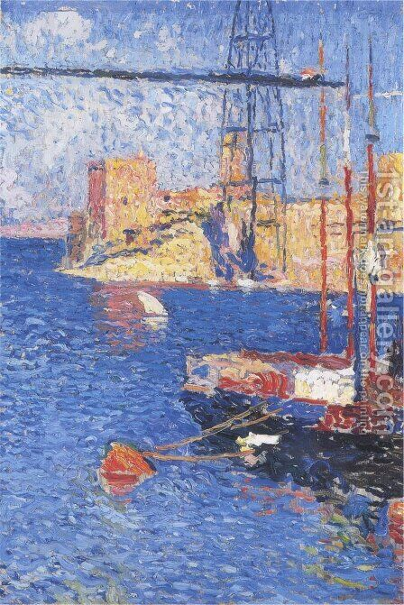 The Port of Marseilles transhipping by Henri Martin - Reproduction Oil Painting