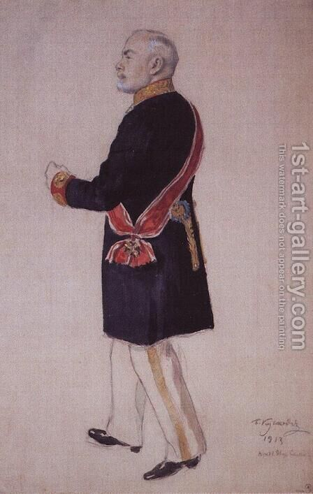 Portrait of S. Somov by Boris Kustodiev - Reproduction Oil Painting