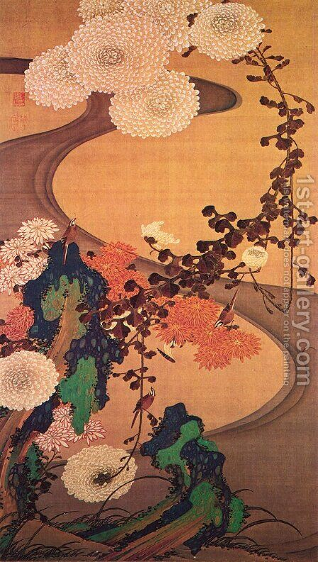 Chrysanthemums by a stream, with rocks by Ito Jakuchu - Reproduction Oil Painting