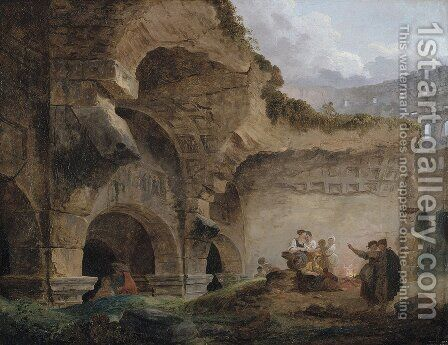 Washerwomen in the Ruins of the Colosseum by Hubert Robert - Reproduction Oil Painting