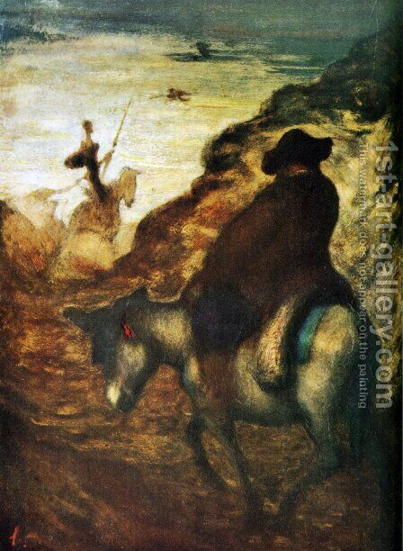 Don Quixote and Sancho Pansa 2 by Honoré Daumier - Reproduction Oil Painting