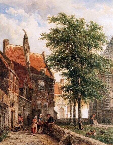 View behind the Grote Kerk in Naarden by Cornelis Springer - Reproduction Oil Painting