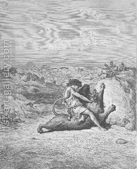 Samson Slays a Lion by Gustave Dore - Reproduction Oil Painting