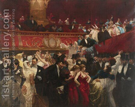 At the Masquerade by Charles Hermans - Reproduction Oil Painting