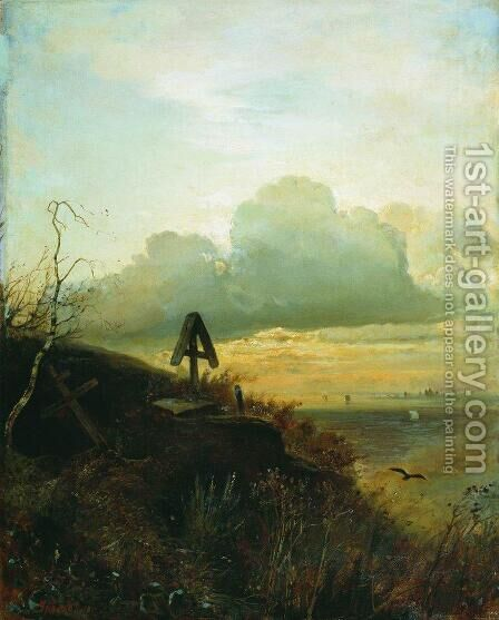 Tomb on the banks of the Volga by Alexei Kondratyevich Savrasov - Reproduction Oil Painting