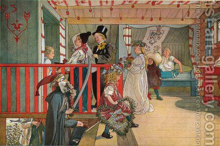 A Day of Celebration by Carl Larsson - Reproduction Oil Painting