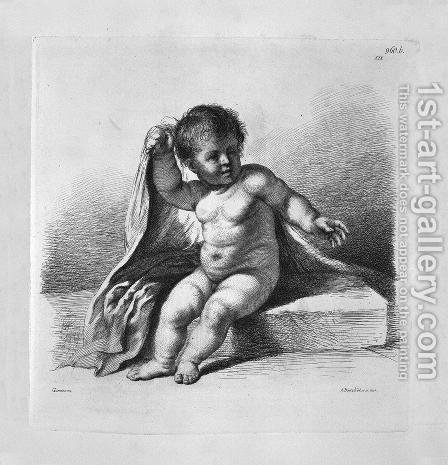 Cherub sitting in the act of covering, by Guercino by Giovanni Battista Piranesi - Reproduction Oil Painting