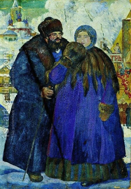 Merchant with his wife by Boris Kustodiev - Reproduction Oil Painting