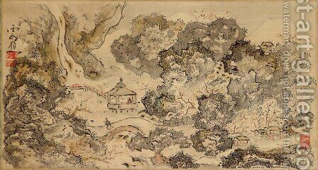 Landscape with Pavilion, Hanging Scroll by Ike no Taiga - Reproduction Oil Painting