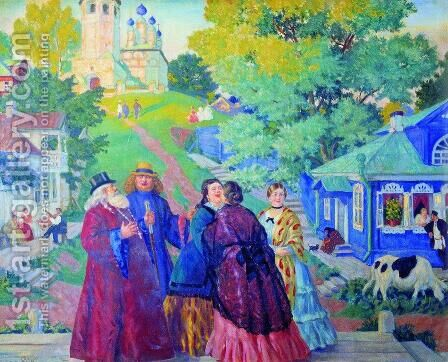 Meeting (Easter day) by Boris Kustodiev - Reproduction Oil Painting