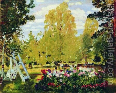 Landscape with a flowerbed by Boris Kustodiev - Reproduction Oil Painting