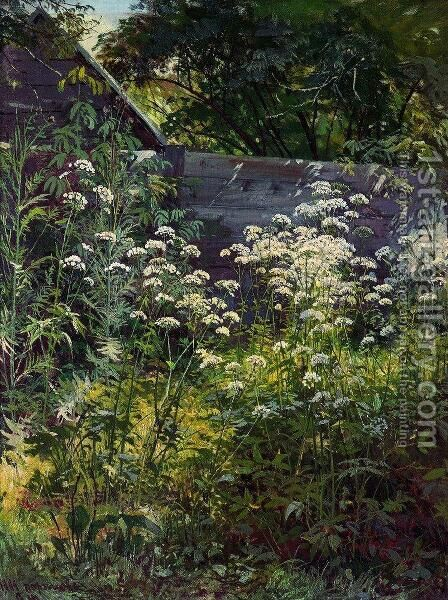 Corner of overgrown garden. Goutweed-grass by Ivan Shishkin - Reproduction Oil Painting