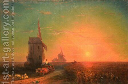 Sunset. Mill by Ivan Konstantinovich Aivazovsky - Reproduction Oil Painting