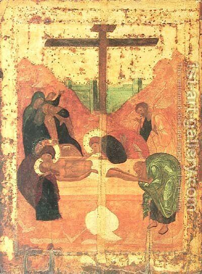 Deposition to tomb by Andrei Rublev - Reproduction Oil Painting