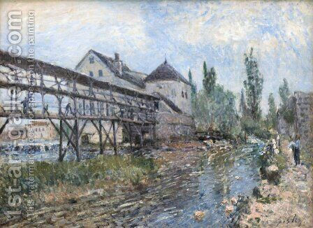 Watermill near Moret by Alfred Sisley by Alfred Sisley - Reproduction Oil Painting