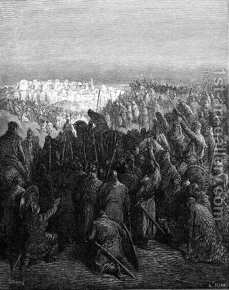 Enthusiasm of Crusaders at the First View of Jerusalem by Gustave Dore - Reproduction Oil Painting