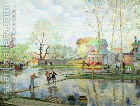 Spring by Boris Kustodiev - Reproduction Oil Painting